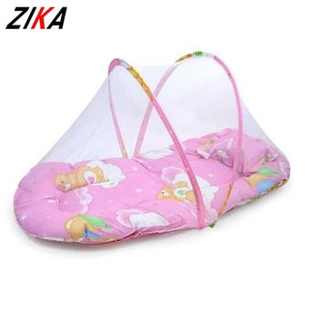 ZIKA New Baby Crib Baby Bed With Pillow Mat Set Portable Foldable Crib With Netting Newborn Cotton Sleep Travel Bed tyh-30824