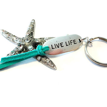 Sun Goddess Starfish Keychain, Rhinestone Pendant Key Ring, Blue Beach Accessory, Ocean Inspired Key Chain, Live Life Inspiration Quote Gift