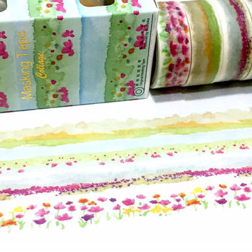 4 rolls spring flower washi masking tape set four seasons forest flower gardening sticker tape colorful garden flower view planner sticker