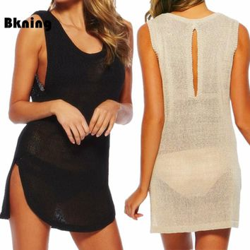 Bkning Knitting Women Black Tunics Beach Cover Up Dress Sexy Beachwear 2018 Kaftan Swimsuit Cover Ups Bathing Suit Dresses May
