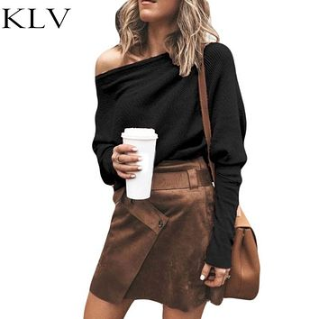 Women Autumn Spring Off Shoulder Long Batwing Sleeves  Knitted Pullover Tops