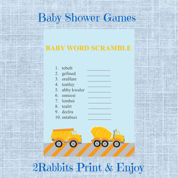 Construction Themed Boy  Baby Shower  - Baby Word Scramble - Printable Baby Shower Game- Instant Digital Printable- Yellow Cement Truck