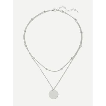 Flat Disc Pendant Layered Necklace