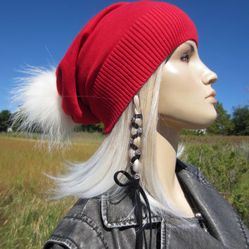Real Fur Santa Hat Fur Pom Pom Beanie Elf Stocking Cap Genuine Fur Long Red Cotton or 100% Pure Cashmere Slouchy Beanies Costume A1556