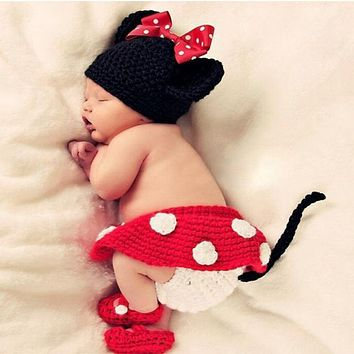 DreamShining Fashion Baby Hat Toddler Girls Boys Costume Knitted Cap Bow Newborn Photography Props Handmade Crochet Outfits