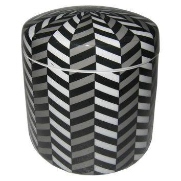 "7"" Ceramic Illusion Jar, Black/White, Jars, Canisters, Tins & Bottles"