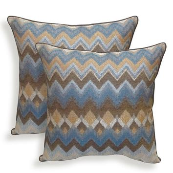 Bianca 2-piece Chenille Chevron Throw Pillow Set (Brown)