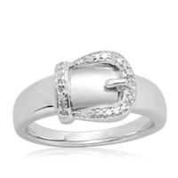 Sterling Silver Buckle Diamond Ring (1/20 cttw), Size 8