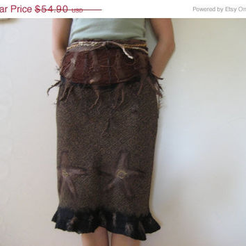 SALE Flower skirt with belt nuno felt black brown XS, S size, cotton wool felted