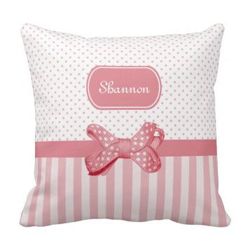 Girly Pink Stripes Cute Polka Dot Bow With Name Throw Pillow