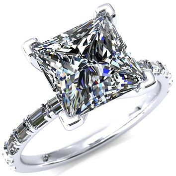 Judie Princess/Square Moissanite 4 V-Prong 1/2 Micropavé Baguette Diamond Accent Engagement Ring