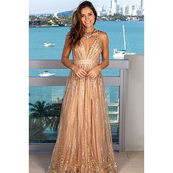 Rose Gold Sequin Maxi Dress with Criss Cross Back