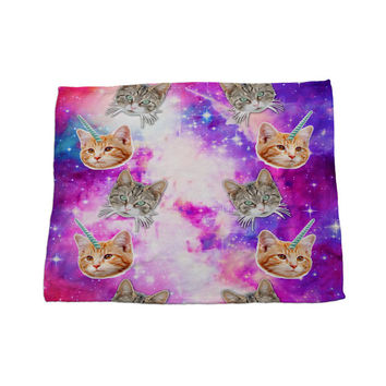 Crazy Cat Unicorn Galaxy Space Pink Purple Print Microfiber Fleece Unique Children Home Decor Baby Crib Fleece Blanket Nursery