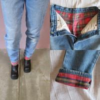 High Waisted Jeans//vintage  high waist tartan plaid flannel lining denim skinny leg high rise pants tapered leg faded dungarees//waist 26