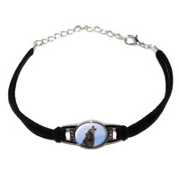 Wolf Howling Novelty Suede Leather Metal Bracelet