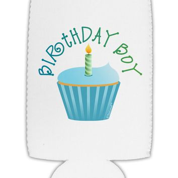 Birthday Boy - Candle Cupcake Collapsible Neoprene Tall Can Insulator by TooLoud