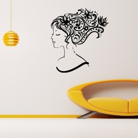 Wall Decal Vinyl Sticker Beauty Girl Hair Salon Spa Decor Sb495