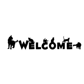 WELCOME Word with Black Cats Wall Sticker