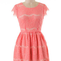 Coral Cap Sleeve Lace Dress