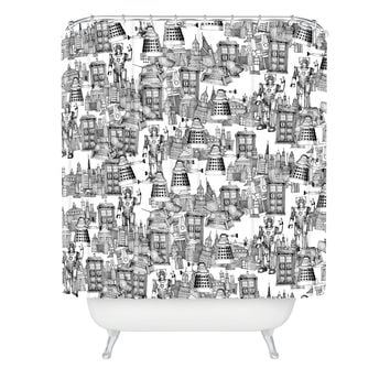 Sharon Turner Walking Doodle Toile De Jouy Shower Curtain