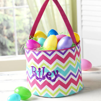 Easter Basket Chevron Tote Bucket - Pink Purple Aqua Personalized Monogrammed