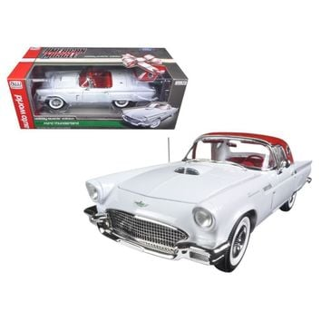 1957 Ford Thunderbird Convertible White 2016 Christmas Edition Issue #3 Limited Edition to 1002pcs and Numbered Chassis 1-18 Diecast Model Car by Autoworld