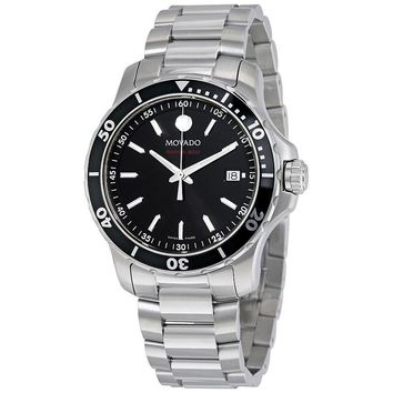 Movado Series 800 Black Dial Stainless Steel Mens Watch 2600135