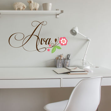 Floral Design Fancy Font Personalized Custom Name Vinyl Wall Decal Sticker