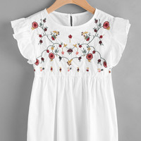 Embroidered Frill Trim Keyhole Back Smock Top -SheIn(Sheinside)