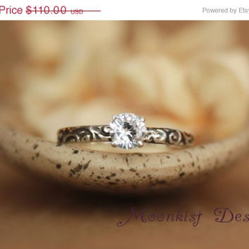 ON SALE White Sapphire Engagement Ring in Sterling Silver - Romantic Smoke Swirl Pattern Band - Commitment Ring, Promise Ring -