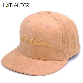 Trendy Winter Jacket HATLANDER Solid suede snapback caps Dames embroidery letter hip hop cap men women brown outdoor sports hats casual gorras unisex AT_92_12