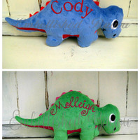 Personalized Stuffed Dinosaur Stegosaurus Soft and Plush Toy for Baby or Dog