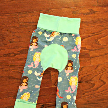 Mermaid Maxaloones Size 1 with mint colored bands, cloth diaper pants, grow with me
