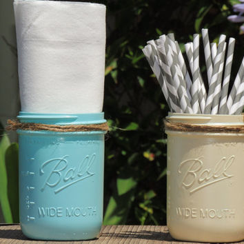 Ivory and blue mason jars, painted mason jars, wide mouth mason jars, wedding decor mason jars, country chic mason jars