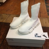 Balenciaga Speed Trainer UK 9 EU 43 US 10 Triple White High Top Sock Runner