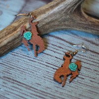Bronco Rose Wood Earrings
