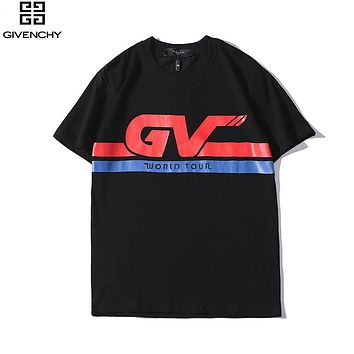 Givenchy 2019 new men and women models GV letter printed round neck short-sleeved T-shirt Black