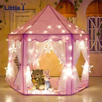 Little J Girl Princess Pink Castle Tents Portable Children Outdoor Garden Folding Play Tent Lodge Kids Balls Pool Playhouse
