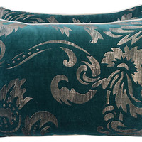 Gold Stenciled Teal Velvet Pillows, Pair - Pillows & Throws - Holiday Decor - Holiday | One Kings Lane