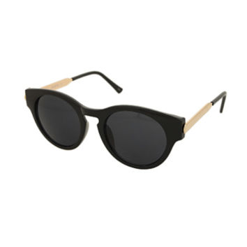 Black Small Curved Sunglasses with Gold Arm Detail | Sunglasses | Rokit Vintage Clothing