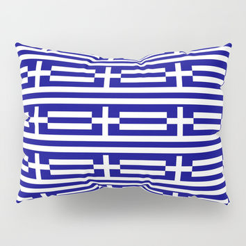 flag of greece 2-Greece,flag of greece,greek,Athens,Thessaloniki,Patras,philosophy,theater,tragedy Pillow Sham by oldking