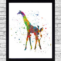 Wall Art Print Watercolor Printable Art, Giraffe Wall Art Download, Giraffe Wall Decor Nautical, Safari Animal Watercolor Paint Splatter Art