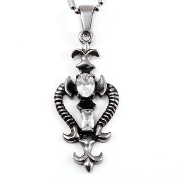 Men's Vintage Gothic Stainless Steel Necklace, Two Dragons Pendant Necklace with Cubic Zirconia, 21.5 inches