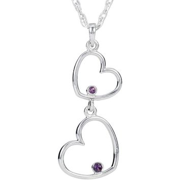 """Sterling Silver Amethyst Double Heart 18"""" Necklace"""
