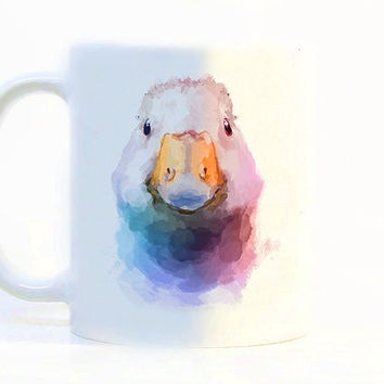 Duck coffee mug, Duck mug Watercolor Mug, Gift mug, Coffee Cup, Tea Cup, Gift for her, Gift for him, Printed mug, Ceramic mug Zebra gift