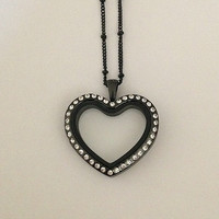 "Living locket black heart with crystals stainless steel and a 18"" ball station chain with 2"" extender"