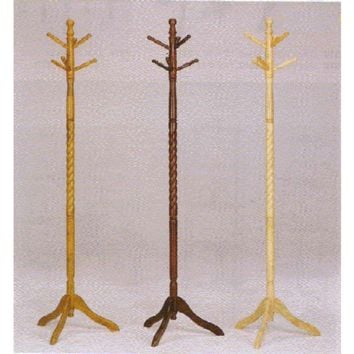 "2"" Diameter braided look Cherry finish wood coat rack with 6 spindles for hanging your coat or hat"