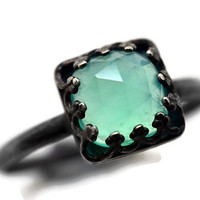 Oxidized Opal Ring, Peruvian Blue Opal Ring, Gothic Black Silver Ring, Natural Gemstone, Square Gemstone Cocktail Ring