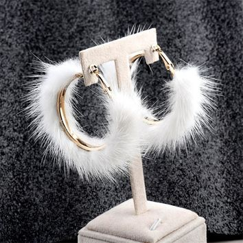 2018 Newest Rabbit Fur Earrings Fashion and Beauty Round Stud Earrings for Women Party Jewelry 2018
