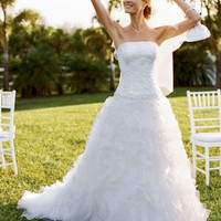 Tulle and Organza Ball Gown with Beaded Lace - David's Bridal